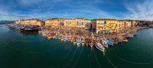 Panoramic Aerial View Of Boats...