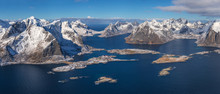 Aerial View Of Mountain Chain At Reine, Lofoten Archipelago, Norway