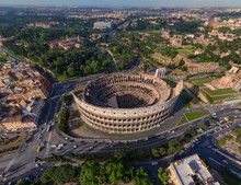 Aerial View Of Roman Colosseum...