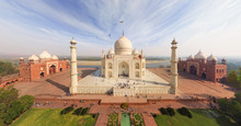 Aerial View Of Birds Flying Over Taj Mahal, India