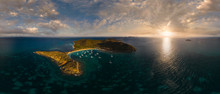 Panoramic Aerial View Of Caribbean Islands During The Sunset.