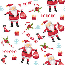 Christmas Seamless Pattern With Santa Claus, Candies, Socks, Mistletoe, Christmas Tree And Gifts On White Background. Vector Illustration