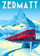 Zermatt Travel Poster With Railway Train In First Plan And Matterhorn In The Background.