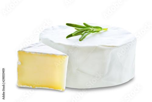 Fototapeta Brie cheese on a white isolated background obraz