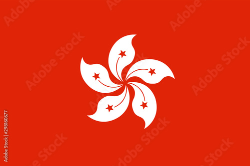 Hong Kong flag. Official colors. Correct proportion Wallpaper Mural