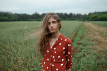 Woman Wearing Red Polka Dot Sh...