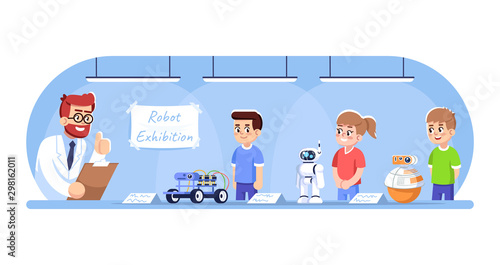 Children showing their robots on exhibition flat vector illustration Poster Mural XXL