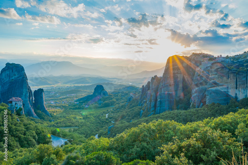 Canvas Prints Blue sky Geology and huge rocks of Meteora at sunset.