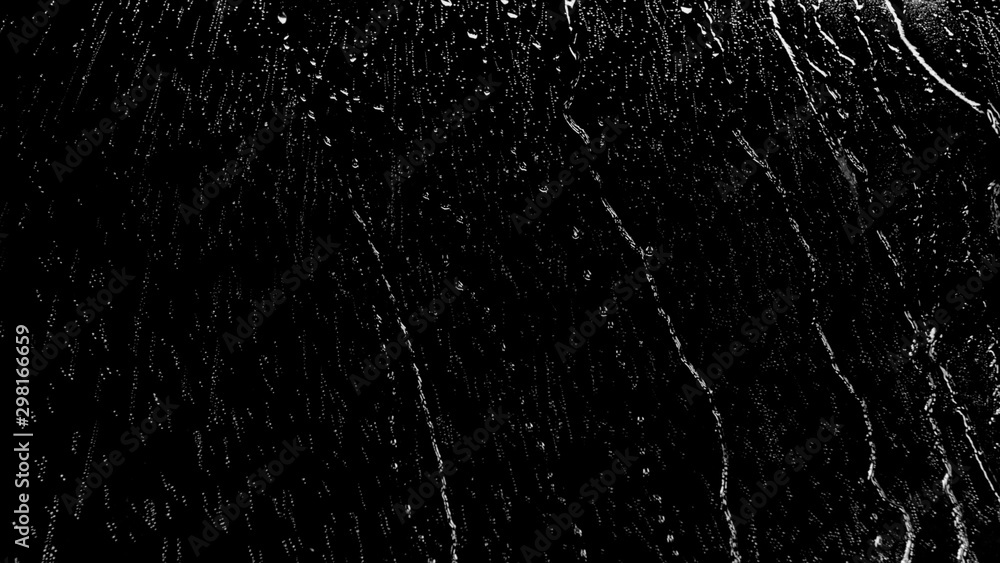 Fototapety, obrazy: Raindrops of white water on glass. Perfect for digital composing. Pure black background.