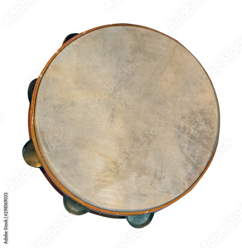 Fotografia classical percussion musical instrument tambourine isolated on white background
