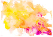 Leinwandbild Motiv Hand-painted colorful elements isolated on white background. Watercolor spot. Colored iridescence watercolor on white paper. Watercolor hand painted art background for scrapbooking design