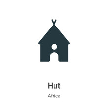 Hut Vector Icon On White Background. Flat Vector Hut Icon Symbol Sign From Modern Africa Collection For Mobile Concept And Web Apps Design.