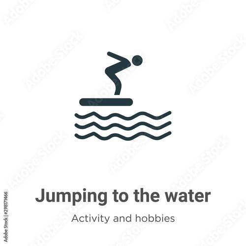 Photo Jumping to the water vector icon on white background