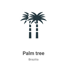 Palm Tree Vector Icon On White Background. Flat Vector Palm Tree Icon Symbol Sign From Modern Brazilia Collection For Mobile Concept And Web Apps Design.