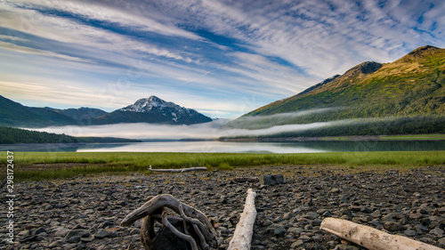 Fotografía  Small lake in Alaska with fog over the water
