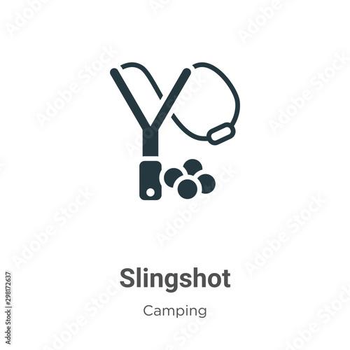 Fotografie, Tablou  Slingshot vector icon on white background