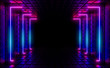 canvas print picture Multicolored neon lamps in a dark tunnel. Reflections on the walls.