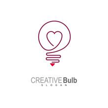 Bulb Logo With Love, Valentine...