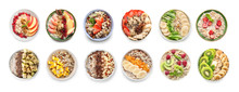 Collage With Tasty Oatmeal In Bowls On White Background