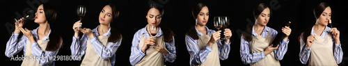 Photo sur Aluminium Alcool Collage with elegant female sommelier on dark background
