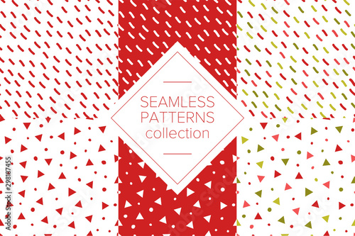Simple abstract seamless pattern with stripes, triangles and dots. Holiday theme in red for wrapping paper. Background for children's holiday or christmas party decoration, wrapping paper, wallpaper