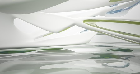 Abstract smooth architectural white interior with color gradient glass sculpture with water and  large windows. 3D illustration and rendering.