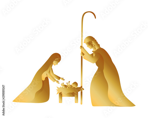 golden holy family manger characters Wallpaper Mural