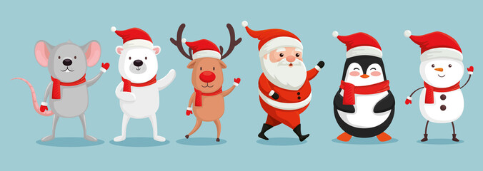 group of cute characters christmas vector illustration design