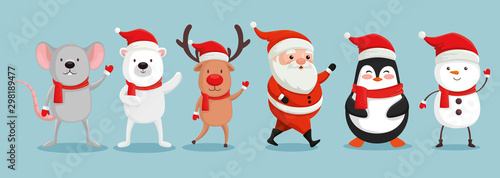 Obraz group of cute characters christmas vector illustration design - fototapety do salonu
