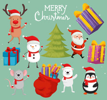 Set Of Characters Merry Christmas Vector Illustration Design