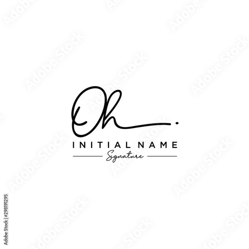 Letter OH Signature Logo Template Vector Canvas Print