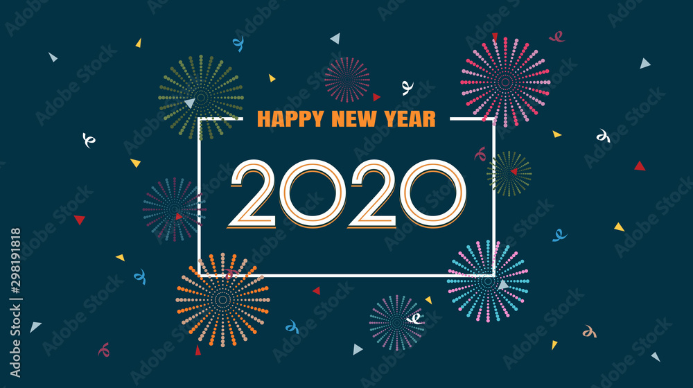 Fototapety, obrazy: Happy new year 2020 with fireworks in flat icon design on dark blue color background
