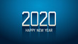 Happy new year 2020 in technology modern text with long drop shadow on blue color background