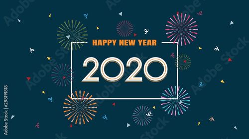 Fototapeta Happy new year 2020 with fireworks in flat icon design on dark blue color background obraz