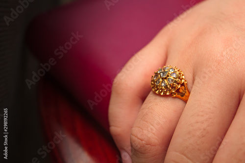 Fototapeta  Diamond ring gold, gem thai style.