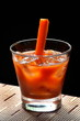 Blood Mary, classic drink with pepper and carrot