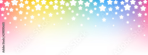 Shiny rainbow fireworks on starry sky background - horizontal panoramic banner f Wallpaper Mural