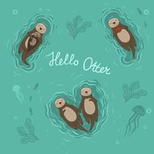 Set Of Sea Otters Swimming On ...