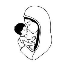 Mary Virgin Lifting Jesus Baby Manger Characters