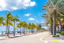 Fort Lauderdale Beach Promenade With Palm Trees