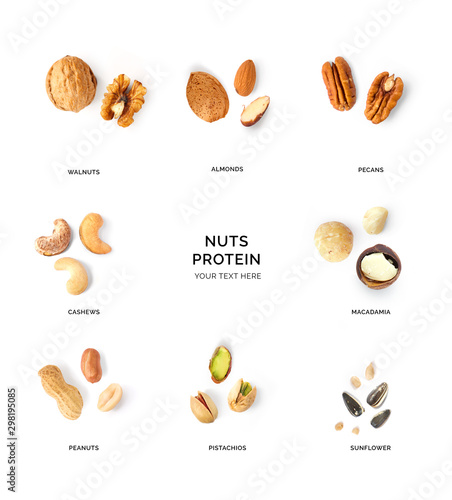 Fotomural  Creative layout made of walnuts, almonds, cashew, pistachio, peanuts, sunflowers and macadamia on white background
