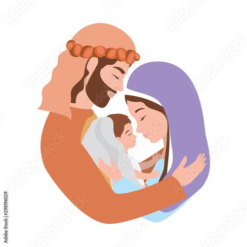 Carta da parati cute holy family manger characters