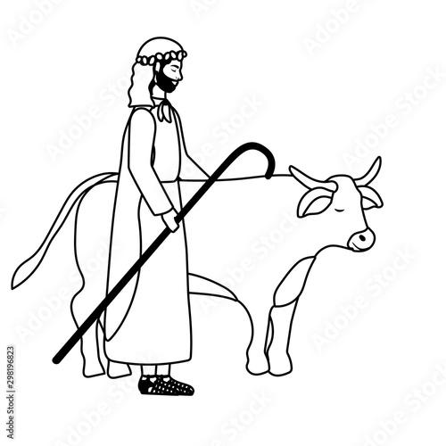 Fotografija saint joseph with ox manger characters