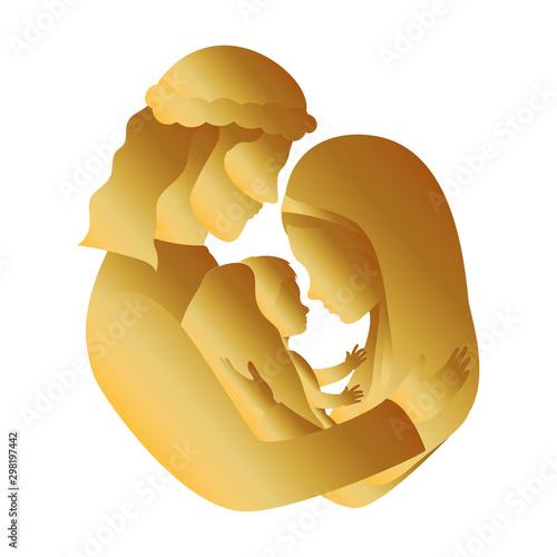 Fotografie, Obraz golden holy family manger characters