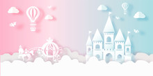Cute Castle Town And City Fairy Tale In Blue And Paper Cut Style Vector Illustration