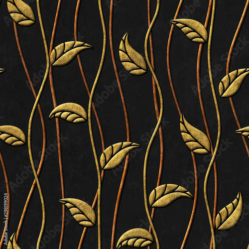 Fotografía  Gold and black seamless texture with leaves relief pattern, 3d illustration