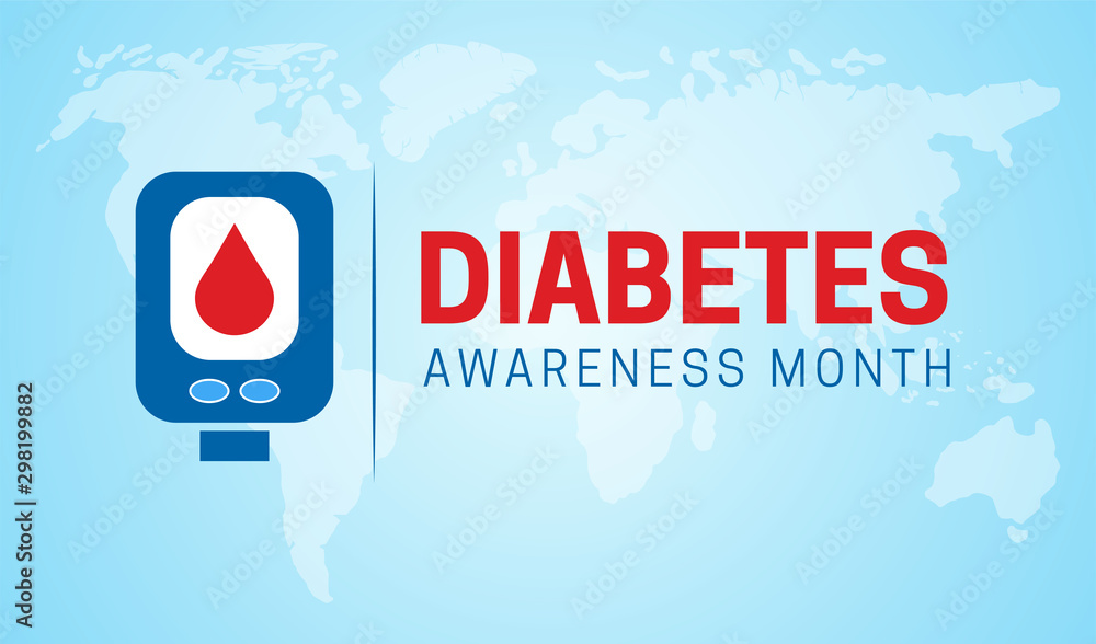 Fototapety, obrazy: Diabetes Awareness Month Background Illustration