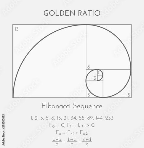 Fibonacci or Golden Ratio Background Illustration Canvas