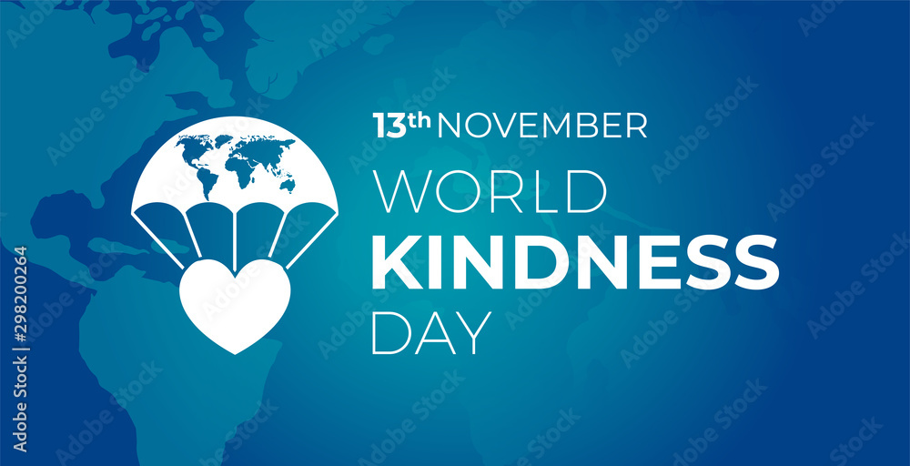 Fototapety, obrazy: World Kindness  Day Blue Banner with Icon
