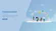 communication teamwork for website template or landing homepage banner - vector